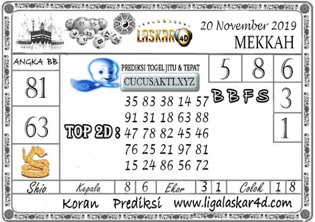 Prediksi Togel MEKKAH LASKAR4D 20 NOVEMBER 2019