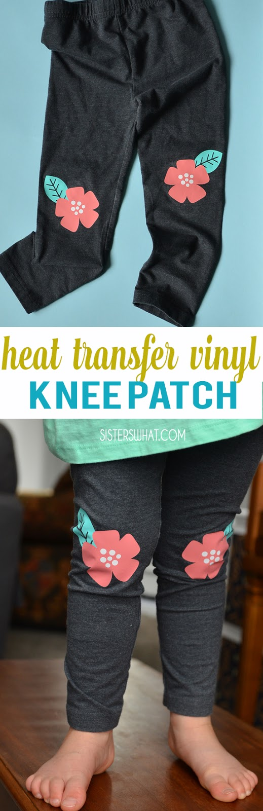 use heat transfer vinyl stretch to add knee patch to leggings. Perfect flower knee patches.