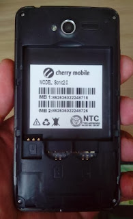 Battery, SIM and Micro SD compartments of Cherry Mobile Sonic 2.0