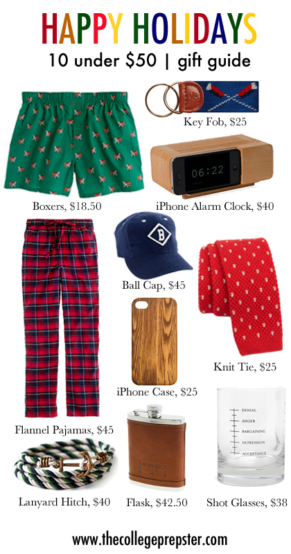 College Prep: Holiday Gifts under $50 (for guys!)