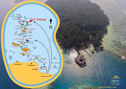 peta lokasi pulau pelangi resort