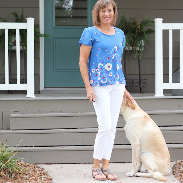 Grainline Scout Tee made from a Silk Border print