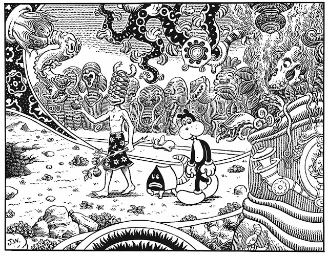 a Jim Woodring comic panel, weird odd unusual strange
