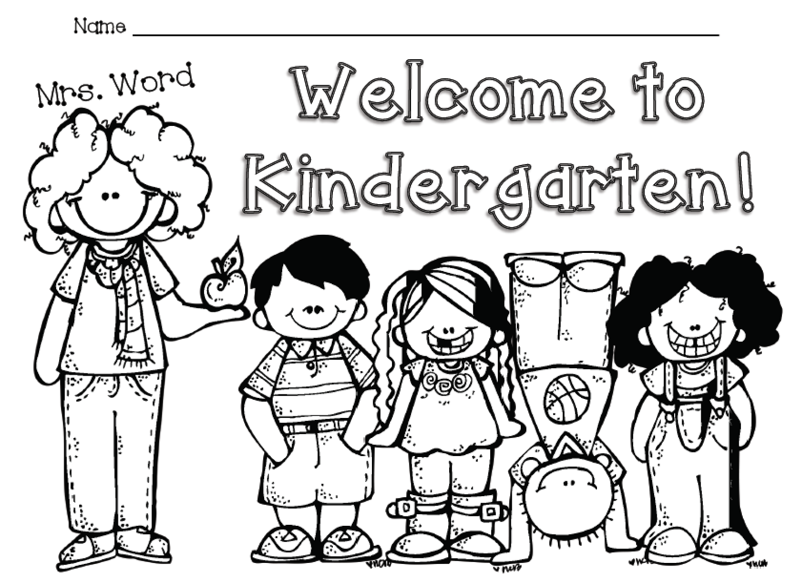 Welcome To Kindergarten Free Color Sheet