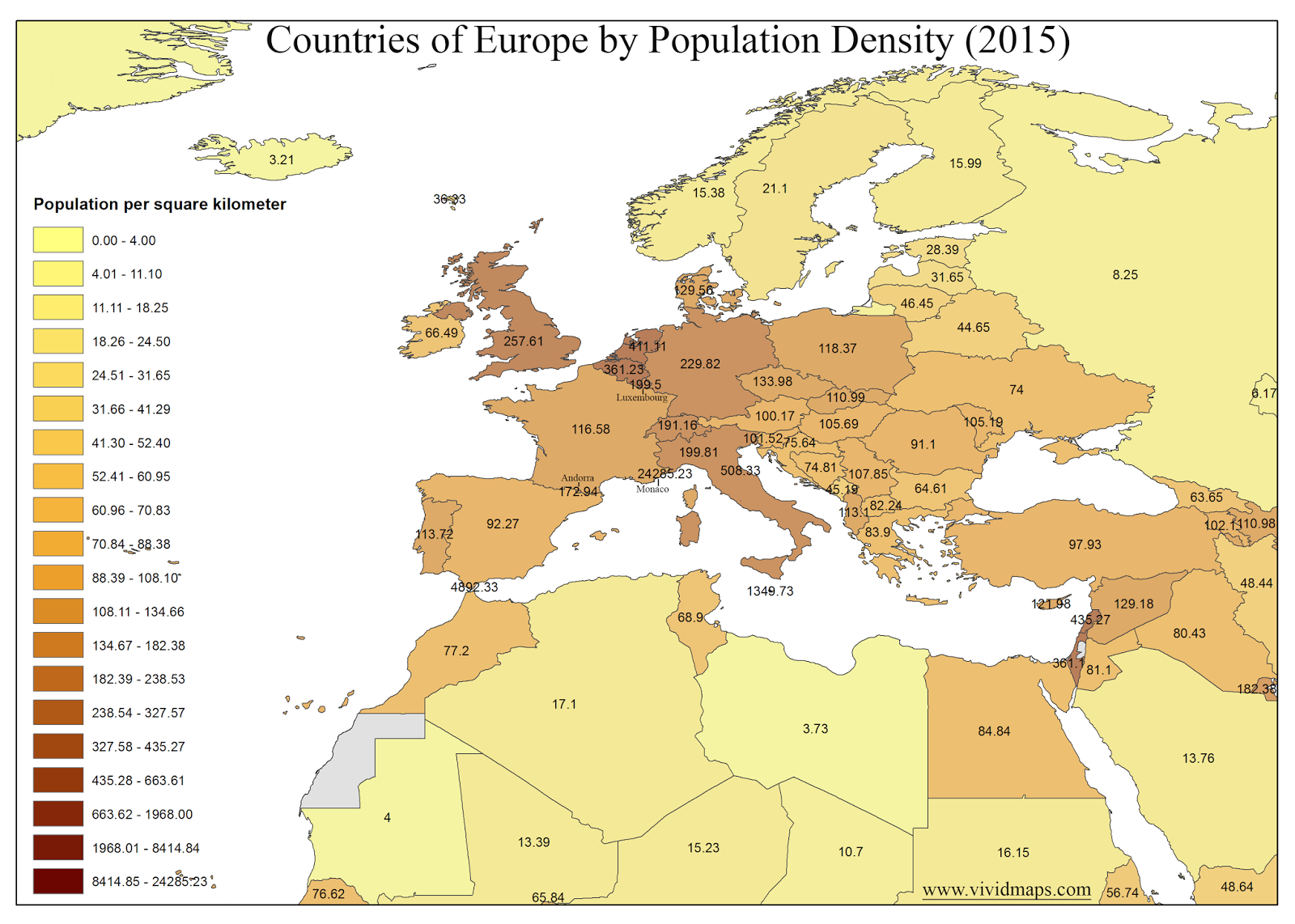 Countries of Europe by Population Density (2015)