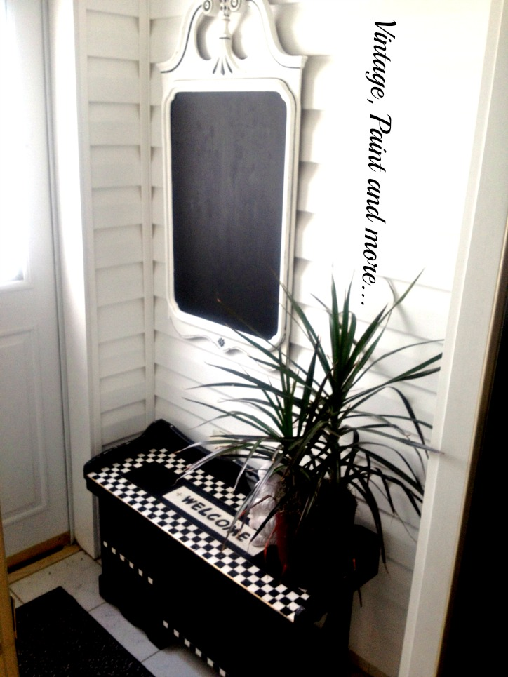 Vintage, Paint and more... Old mirror made into chalkboard, whimsically painted welcome bench