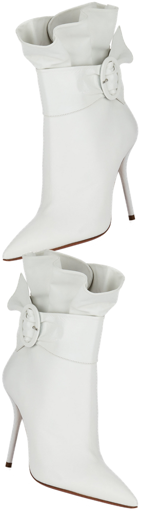Aquazzura Palace Leather Ruffle Bootie