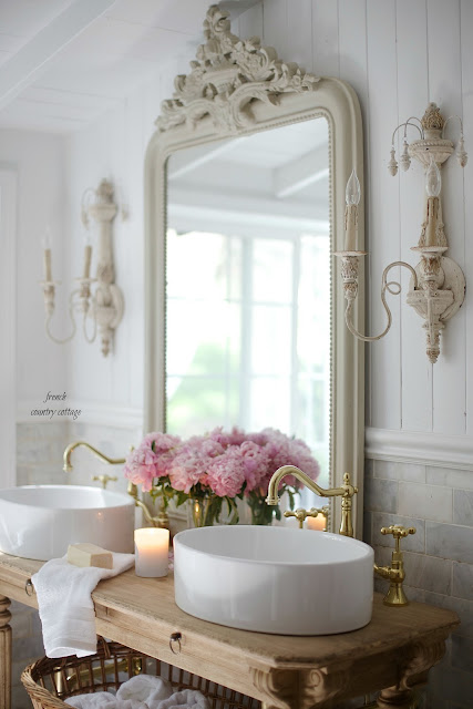 Elegant French cottage bathroom renovation peek & why I am in love already