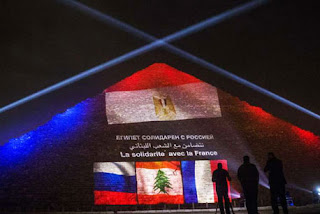Egypt's Pyramids Light Up With Flags of France, Lebanon and Russia