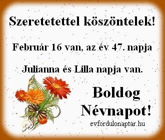 Február 16, Lilla névnap