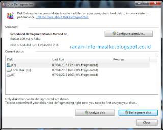 Perlunya Melakukan Disk Defragmenter Pada PC