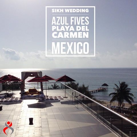 Rooftop Sikh Wedding on Beach Azul Fives Riviera Maya