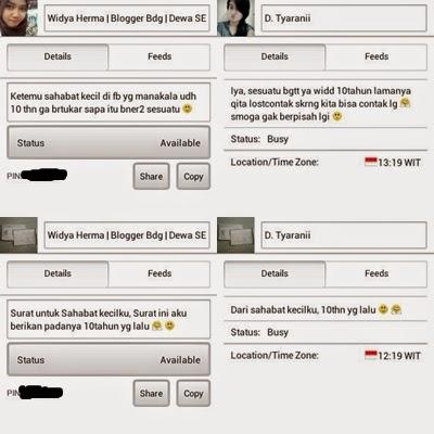 Screenshoot Blackberry Messenger sama Dian
