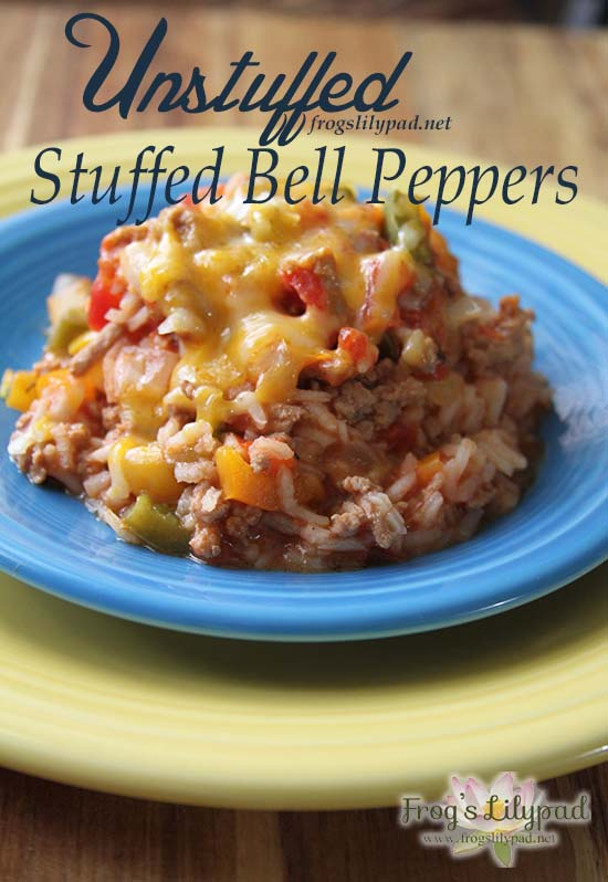 Frog's Lilypad: Unstuffed Stuffed Bell Peppers - Unstuff those stuffed bell peppers with this amazing recipe. Unstuffed Stuffed Bell Peppers is just as good only you don't have to heat up the oven. l frogslilypad.net