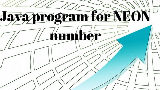 neon number program in java