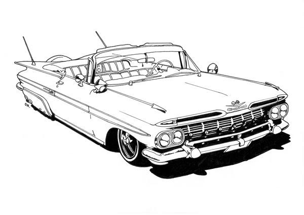 Lowrider Coloring Page Of Cadillac Car