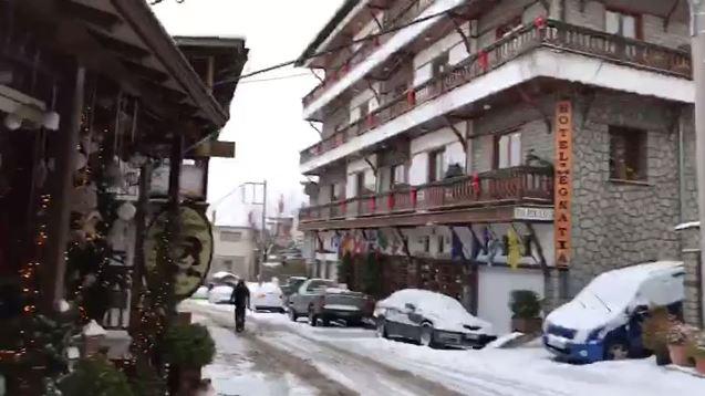 Βίντεο από το χιονισμένο Μέτσοβο