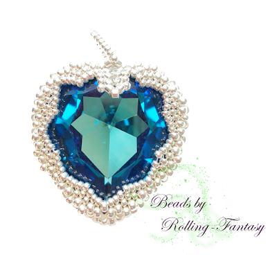 Kettenanhänger - Sparkle Heart in Crystal Bermuda Blue und Silber