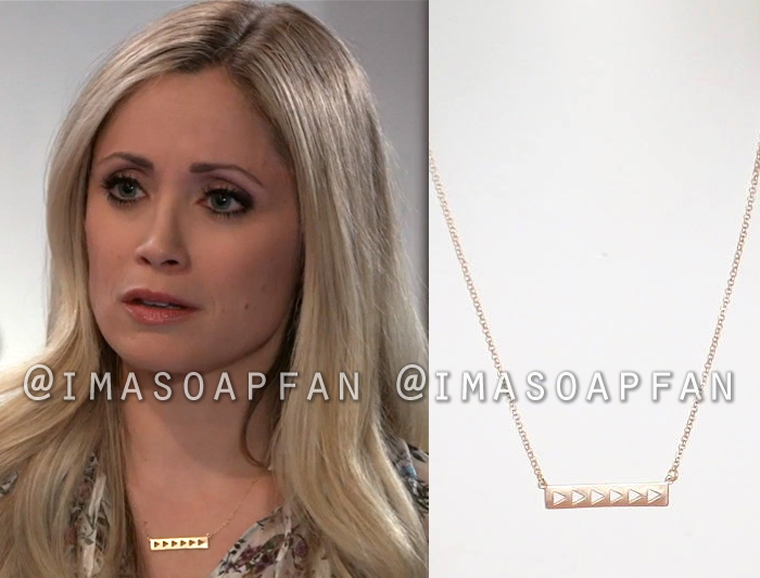 Lulu Spencer Falconeri, Emme Rylan, Gold Bar Necklace with Triangle Cutouts, General Hospital, GH