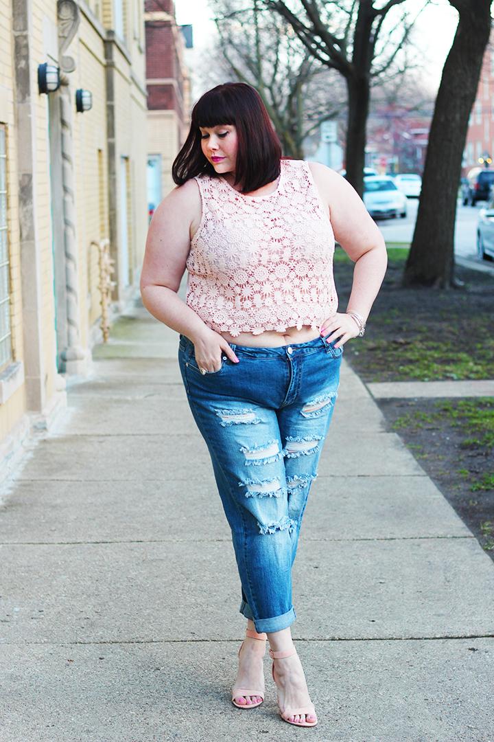 52593090643 crochet top Crop Top distressed denim Forever 21 Forever 21 Plus heels pink  heels ripped jeans Uncategorized