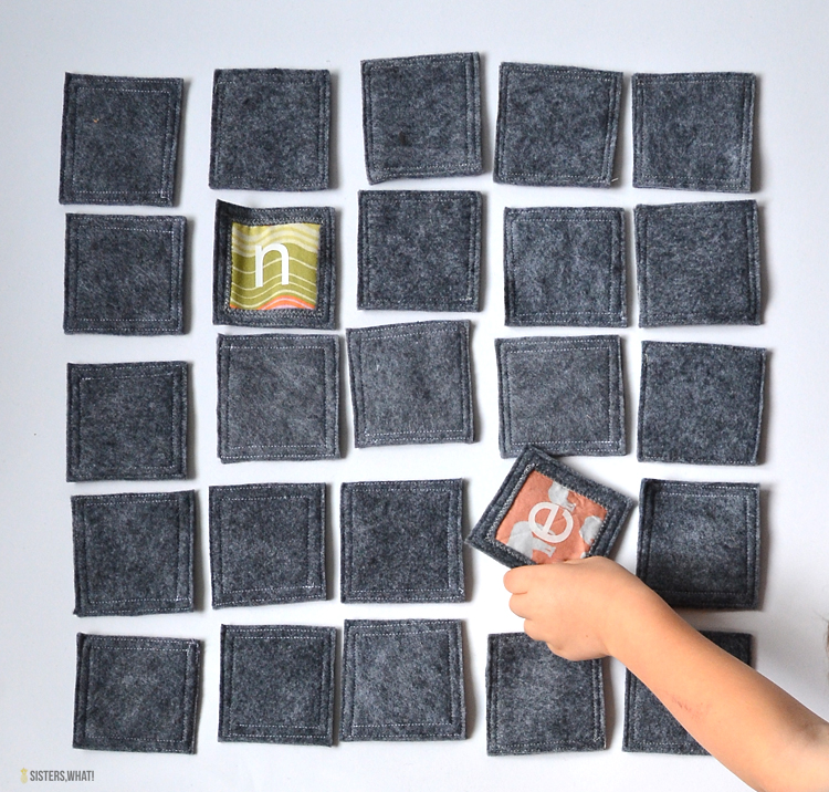 fabric memory game using wool felt and fabric scraps