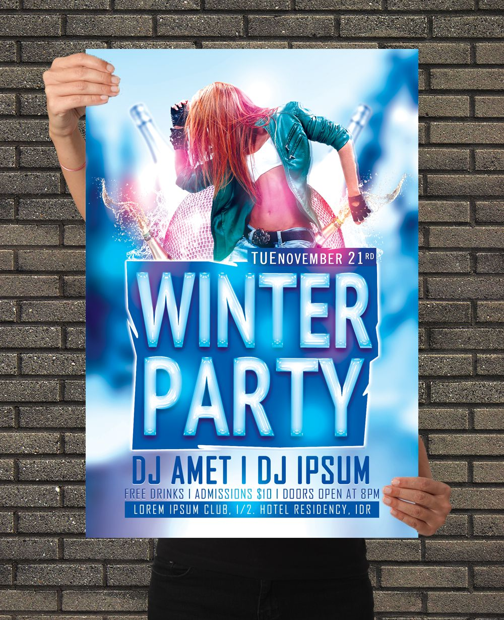 Winter Party DJ Flyer Design