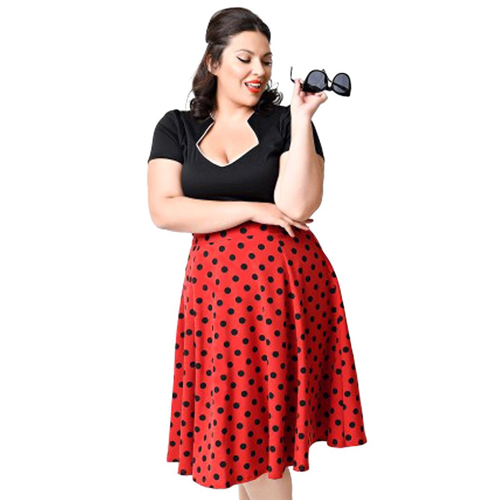 Chicloth Polka Dot Plus Size Dress