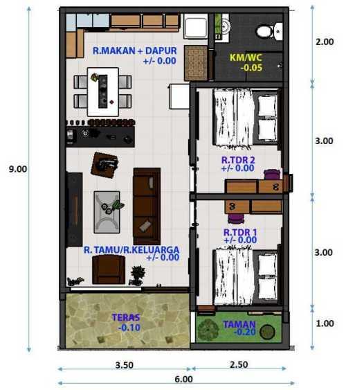 7 Desain Rumah 2D 1 Lantai dan 2 Lantai.