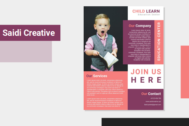 Kid Education Course Flyer Template Design Free Download on Word File