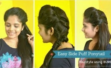 Easy Side puff Messy Ponytail Hairstyle Using BUMP| DIY Brided Ponytail for medium/long hair