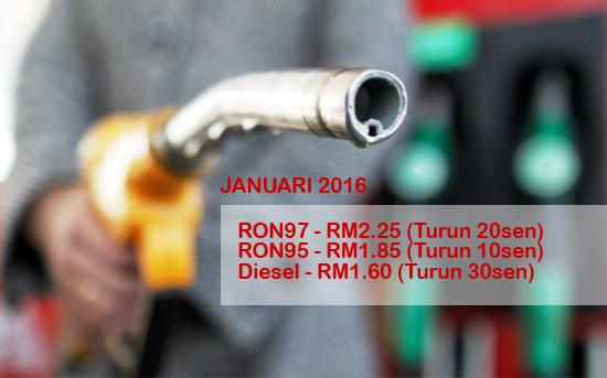 Harga Petrol RON 95, RON 97, Diesel Januari 2016