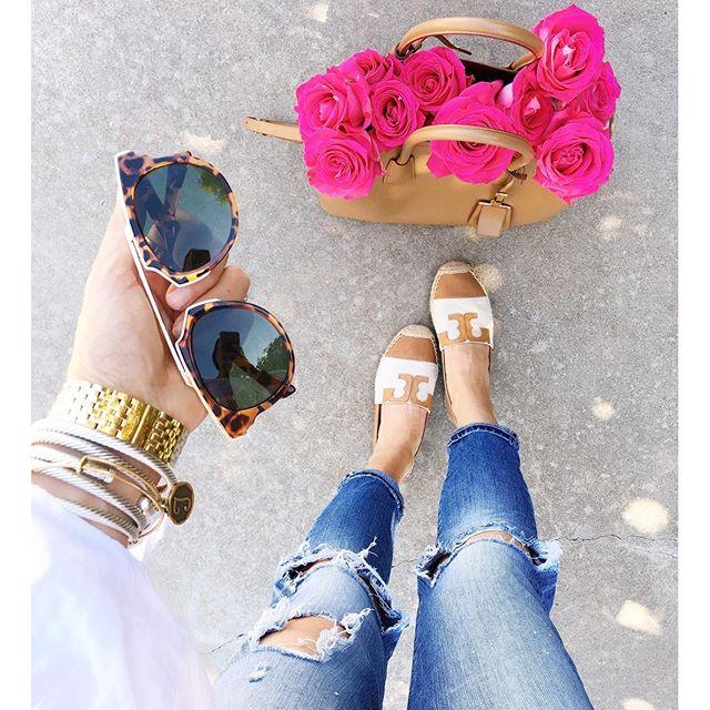 tan prada cuir handbag, pink roses tulsa ok, dior look a like sunglasses, nordstrom designer sunglasses, blank nYc sunglasses, denim & supply ripped jeans, tory burch espadrilles, how to style tory burch espadrilles, flat espadrilles for spring and summer