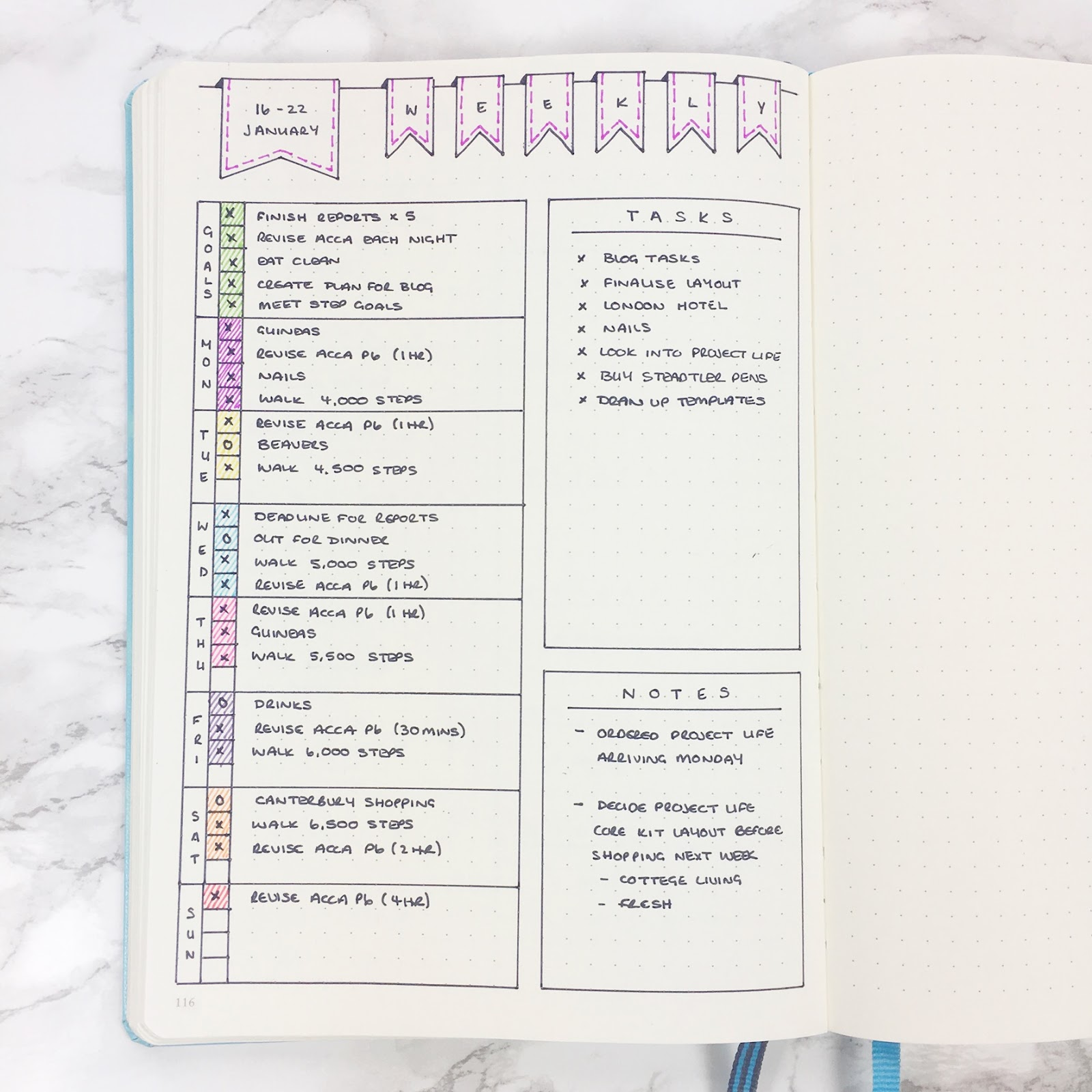 Bullet Journal Simple Weekly Layout & Template