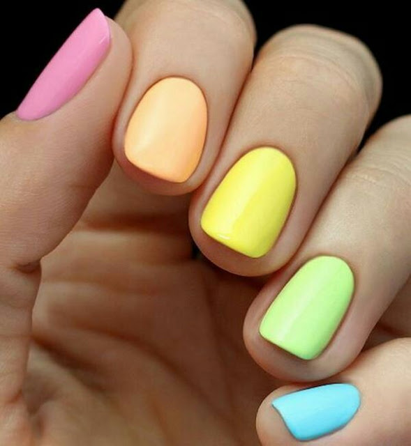 Multi color nail arts
