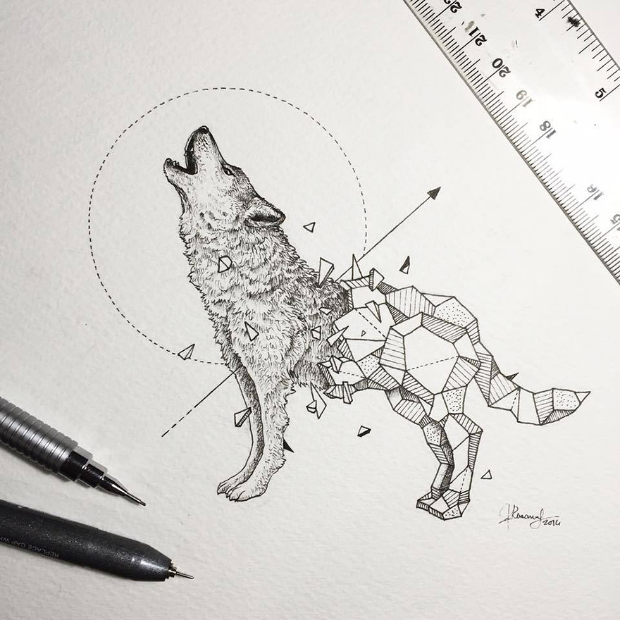 02-Howling-Wolf-Kerby-Rosanes-Geometry-Coupled-with-Detailed-Drawings-of-Animals-www-designstack-co