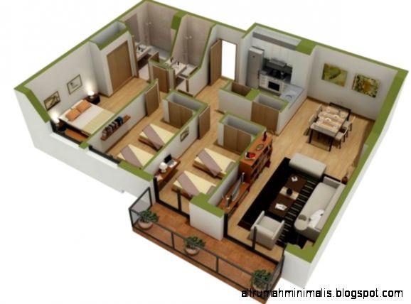 Gambar Rumah Minimalis Sederhana 1 Lantai 3 Kamar Tidur