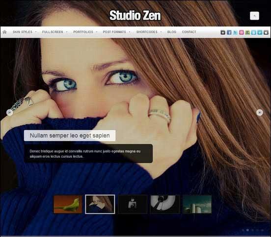 Studio Zen Fullscreen Photo WordPress Theme