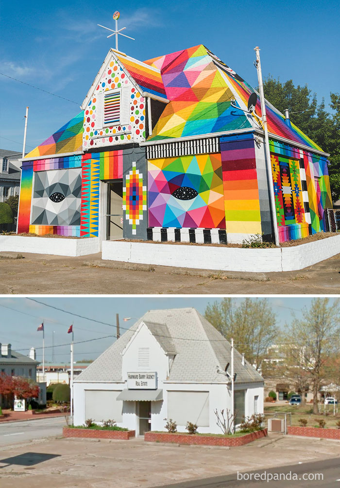 10+ Incredible Before & After Street Art Transformations That'll Make You Say Wow - Okuda, The Universal Chapel, Arkansas, USA