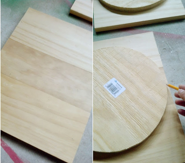 tracing circle on wood