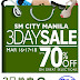 SM City Manila's 3 Day Sale this Weekend