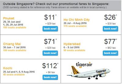 giá vé khuyến mãi tiger air các chặng bay đến Singapore