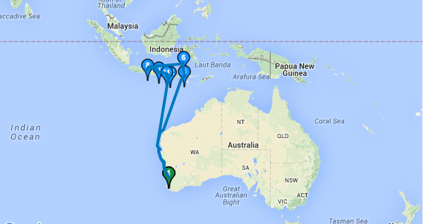 Peta Tempat Wisata Kapal Pesiar
