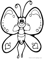 Butterfly Cartoon Kids Coloring Pages