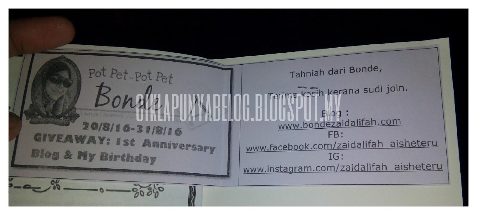 Menang Giveaway : 1st anniversary blog dan my birthday anjuran bondezaidalifah.com.