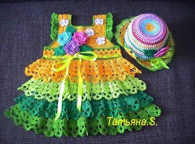 Patrón #1298: Vestido Niña a Crochet