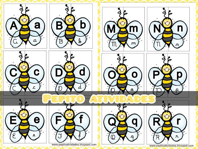 Jogo pedagógico português letras do alfabeto  para imprimir.