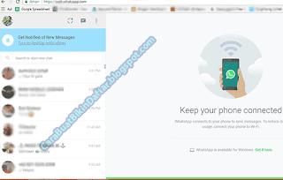 whatsapp web di pc yang sudah terhubung