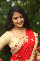 Akshara in Red Saree Golden Choli at LV Movie Makers Production No 1 Movie Opening ~  Exclusive 034.JPG