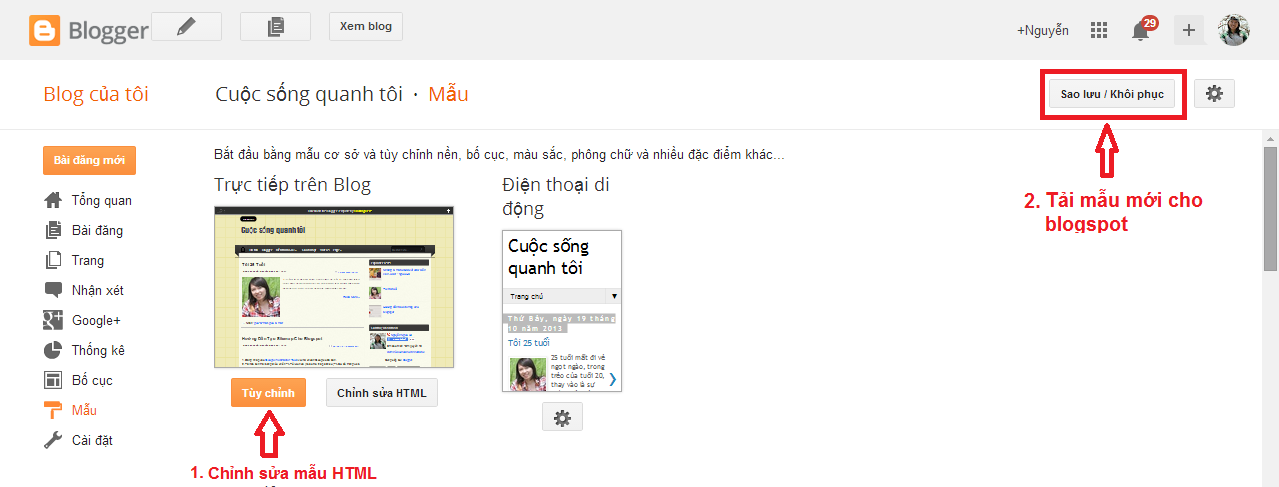 huong dan cach tao blog cua blogspot