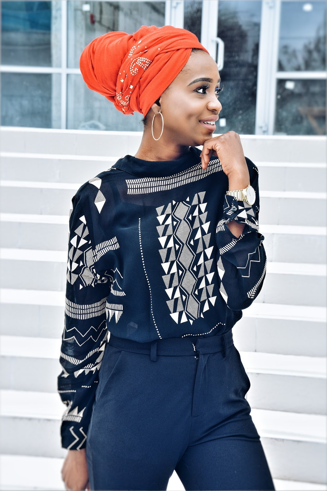 Head wrap,  pop of colour,  shirt backwards